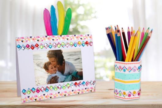 Cadre et pot à crayons Fête des mères - Tutos Fête des Mères - 10doigts.fr