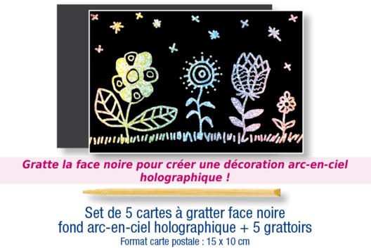 Set de 5 cartes à gratter face noire fond arc en ciel holographique + 5 grattoirs  - Arc-en-ciel - 10doigts.fr