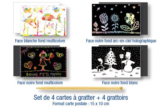 Set de 4 cartes à gratter assorties + 4 grattoirs - Cartes à gratter, à sabler - 10doigts.fr