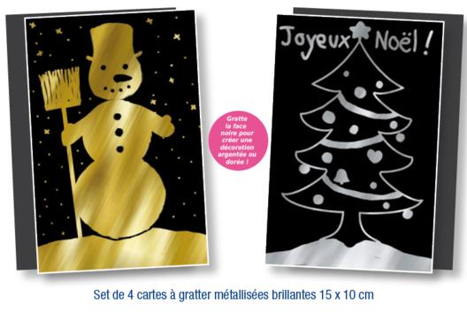 Set de 4 cartes à gratter face noire fond métallisé + 4 grattoirs - Tutos Pâques - 10doigts.fr