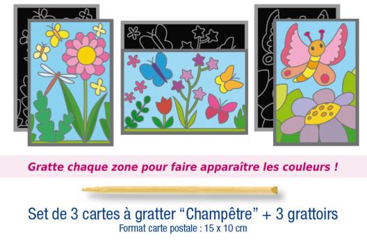 """Set de 3 cartes à gratter """"Champêtre"""" + 3 grattoirs - Carterie - 10doigts.fr"""