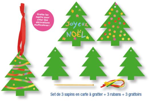 Set de 3 sapins de Noël en carte à gratter + 3 grattoirs + 3 rubans satin - Cartes à gratter, à sabler - 10doigts.fr