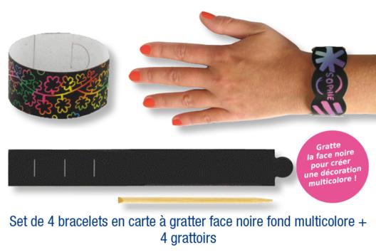 Set de 4 bracelets en carte à gratter + 4 grattoirs - Arc-en-ciel - 10doigts.fr
