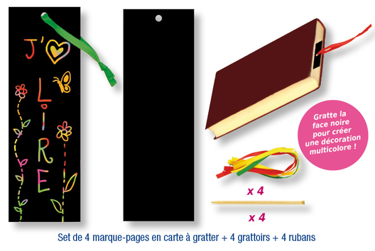 Set de 4 marque-pages en carte à gratter + 4 grattoirs + 4 rubans satin - Arc-en-ciel - 10doigts.fr