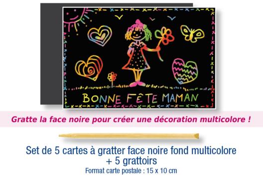 Set de 5 cartes à gratter face noire fond multicolore + 5 grattoirs - Arc-en-ciel - 10doigts.fr