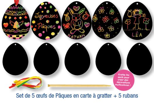 Oeufs de Pâques à gratter - Arc-en-ciel - 10doigts.fr