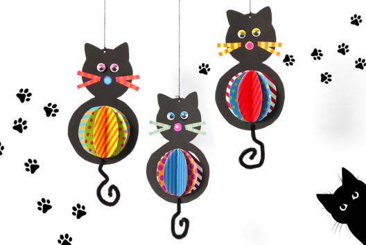 Chats suspendus - Tutos Halloween - 10doigts.fr
