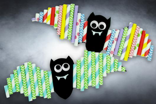 Chauves-souris avec pailles en carton - Tutos Halloween - 10doigts.fr