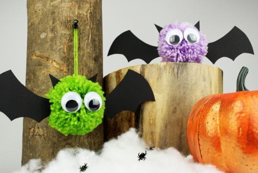 Chauves souris pompons - Tutos Halloween - 10doigts.fr
