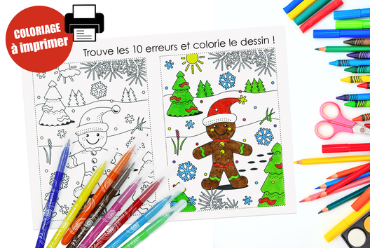 Coloriage de Noël + jeu des 10 erreurs - Carterie - 10doigts.fr