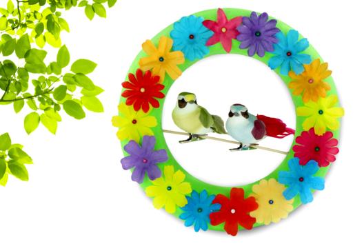 Couronne de fleurs et petits oiseaux - Activités enfantines - 10doigts.fr