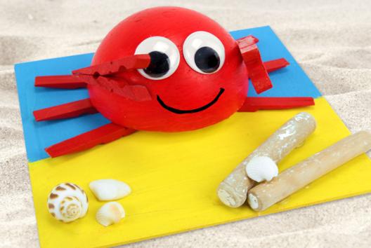 Crabe 3D avec des demi-pinces à linge - Animaux - 10doigts.fr