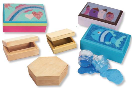 Déorer une boîte en bois avec une carte sable - Arc-en-ciel - 10doigts.fr