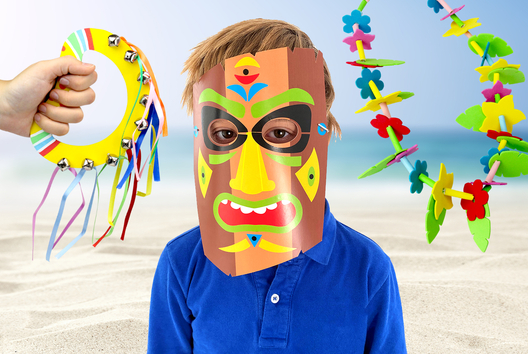 Déguisement exotique et masques TIKI - Tutos Carnaval - 10doigts.fr