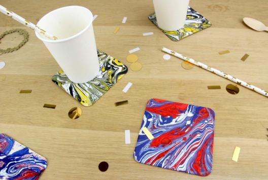 Dessous de verre effet marbre - Peinture - 10doigts.fr