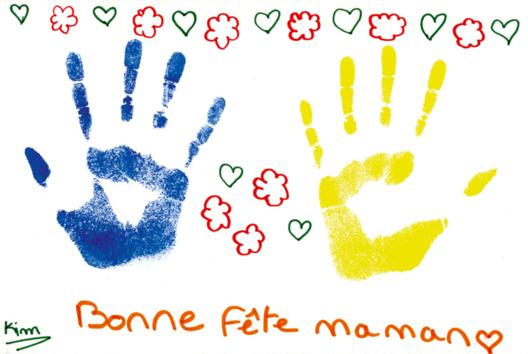Tableau empreinte de la main - Tutos Fête des Mères - 10doigts.fr