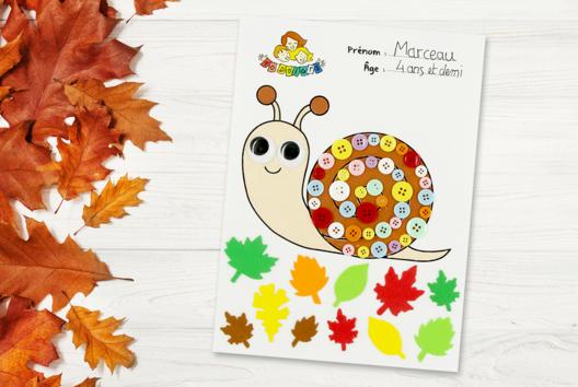 Coloriage et collage escargot - Animaux - 10doigts.fr
