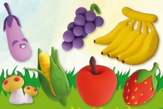 Fruits et légumes en pâte à modeler Soft Clay - Modelage - 10doigts.fr