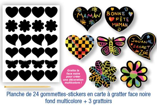 Gommettes-stickers en carte à gratter + 3 grattoirs - Arc-en-ciel - 10doigts.fr