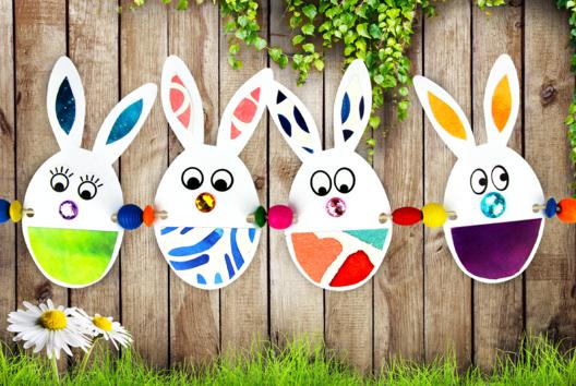 Guirlande de Pâques : Lapins en papier - Tutos Pâques - 10doigts.fr