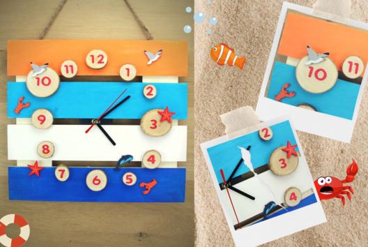 """Horloge """" Bord de mer """" - Apprendre à lire, écrire, compter - 10doigts.fr"""