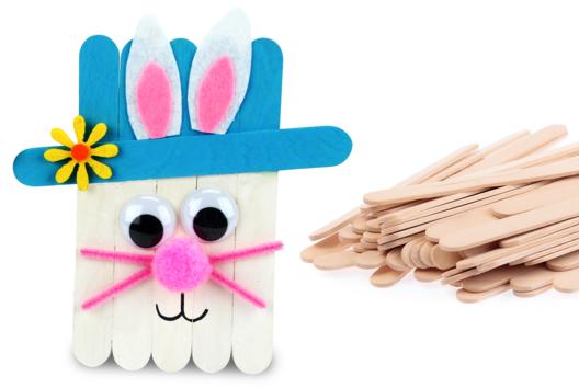 Lapin de Pâques avec des bâtonnets en bois - Tutos Pâques - 10doigts.fr