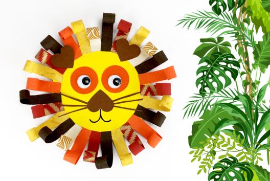 Lion avec des bandes de papier - Collage et pliage papier - 10doigts.fr