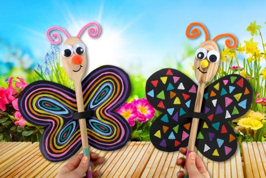 Marionnette papillon avec une cuillère en bois - Petits bricolages - 10doigts.fr