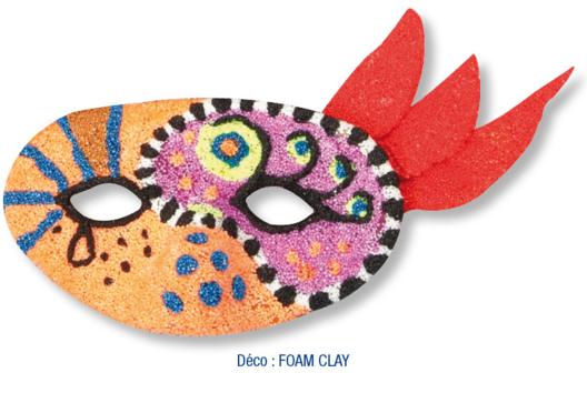 Loup décoré avec de la pâte à modeler FOAM CLAY - Tutos Carnaval - 10doigts.fr