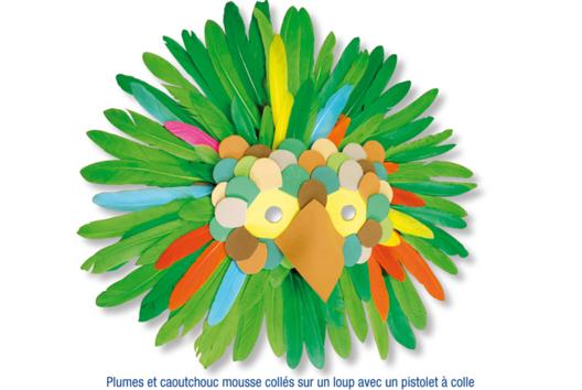 Loups à décorer avec caoutchouc souple + plumes - Tutos Carnaval - 10doigts.fr