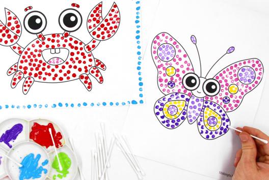 Peinture au coton-tige - Peinture - 10doigts.fr
