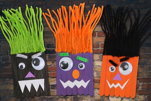 Monstres rigolos en bâtonnets - Halloween - 10doigts.fr