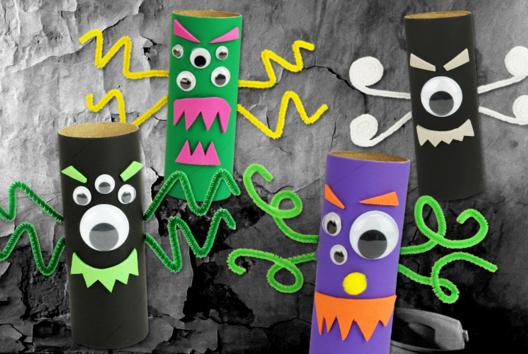 Monstres en rouleaux en carton - Tutos Halloween - 10doigts.fr