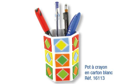 Pots à crayons déco mosaïques en caoutchouc souple auto-adhésif - Tutos Fête des Mères - 10doigts.fr