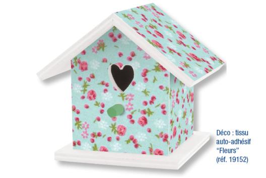 Boite à dragées nichoir - Décoration tissu imprimé adhésif - Décoration d'objets - 10doigts.fr