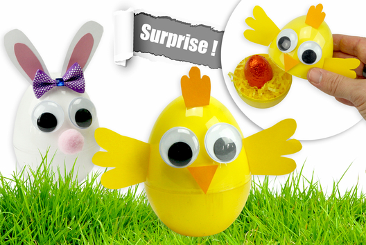 Oeufs surprises de Pâques : poussin et lapin - Tutos Pâques - 10doigts.fr