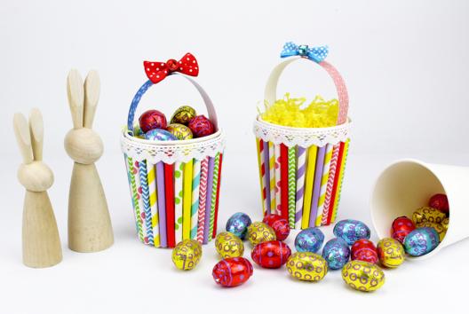 Panier de Pâques avec un gobelet en carton - Tutos Pâques - 10doigts.fr