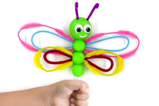 Papillon avec des boules en polystyrène - Personnages rigolos - 10doigts.fr