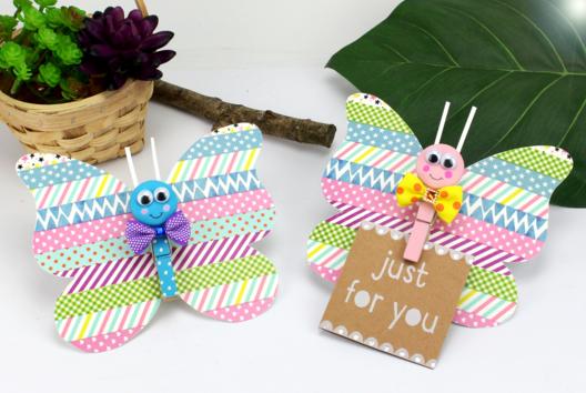 Faire un papillon en papier avec une pince à linge - Tutos Fête des Mères - 10doigts.fr