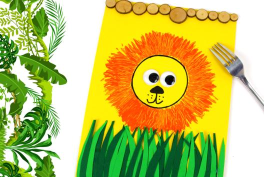Peinture fourchette : Lion - Peinture - 10doigts.fr
