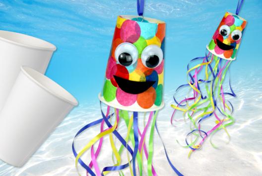 Pieuvre multicolore avec un gobelet - Animaux - 10doigts.fr