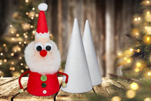 Père Noël avec cône en polystyrène - Personnages de Noël - 10doigts.fr