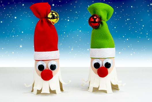 Père Noël avec un gobelet et de la feutrine - Personnages rigolos - 10doigts.fr