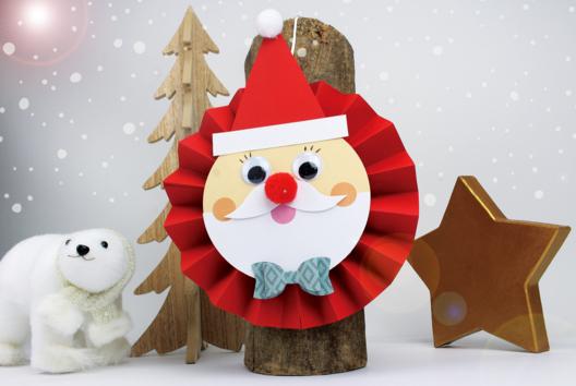 Père Noël en papier tout rond et tout mignon - Je fais un calendrier de l'avent - 10doigts.fr