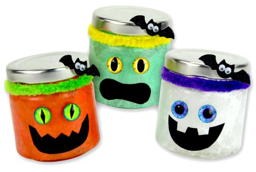 Photophores monstres d'Halloween - Tutos Halloween - 10doigts.fr