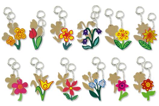Porte-clefs fleurs en bois MDF - Tutos Porte-clés et Grigris - 10doigts.fr