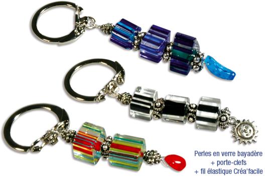 Porte-clefs ou mousqueton de perles bayadères en verre - Tutos Porte-clés et Grigris - 10doigts.fr