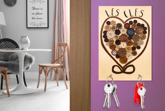 Porte-clés mural Coeur - Tutos Fête des Mères - 10doigts.fr
