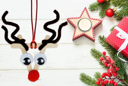 Rudolphe le renne du père Noël - Je décore des suspensions pour le sapin - 10doigts.fr