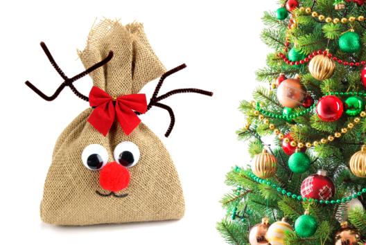 Renne de Noël en toile de jute - Animaux - 10doigts.fr